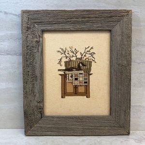 Vintage Embroidered Framed Photo Decor